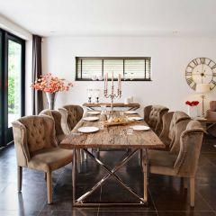 Table à manger Kensington 240x100 - brun/argent