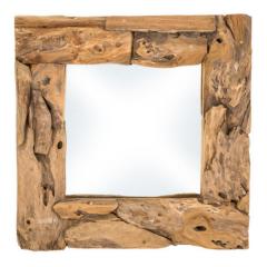 Miroir mural Root 50x50cm carré - teck/bois de racine