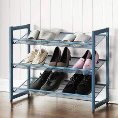 Etagère à chaussures Alvin 3 tablettes - bleu
