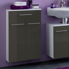 Armoire de salle de bains Small 50cm 1 tiroir & 2 portes - gris brillant