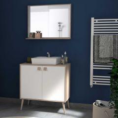 Armoire de salle de bains Anthony 80 cm avec 2 portes et miroir - chêne/blanc