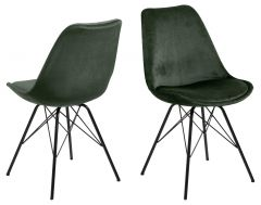 Set de 2 chaises coquilles Irma en velours - vert forêt/noir