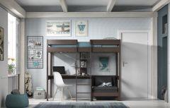 Lit mezzanine Lena avec canapé-lit - taupe