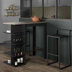Table de bar Cori - noir/chêne