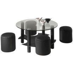 Table basse Bent avec 4 poufs - verre/noir