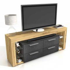 Meuble TV Vidi 180 cm - chêne vielli/foncé