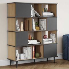 Bibliothèque Fame - chêne/gris