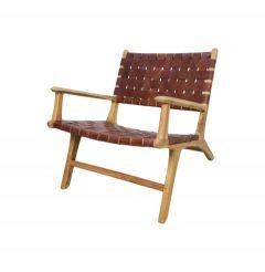 Chaise longue avec accoudoirs - cuir / teak - cognac