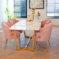 Table à manger Dynasty 200x100 - marbre/or