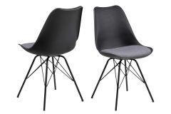 Set de 2 chaises coquilles Irma avec coussin gris clair - noir
