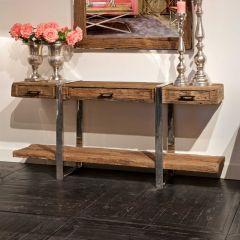 Bahut Kensington 180cm avec 3 tiroirs & 1 étagère - brun/argent