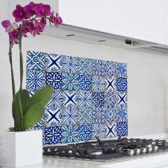 Sticker mural Carreaux revêtement mural pour cuisine - bleu