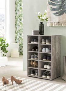 Etagère / Armoire à chaussures Levi à 10 compartiments - béton