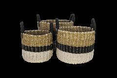 Set de paniers Malibu - noir / naturel / blanc - raphia / herbe marine - ensemble de 3