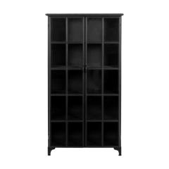 Vitrine Manhattan 180x90cm à 2 portes - métal noir/verre