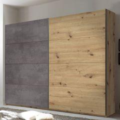 Armoire à vêtements Paslack 270cm avec 2 portes - chêne Artisan/béton