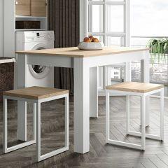 Table à manger Nice - blanc/chêne