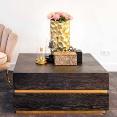 Table basse Bony 90x90cm fermé - noir/or