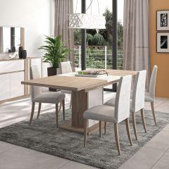 Table à manger extensible Gaston pied fût - chêne Kronberg clair/blanc