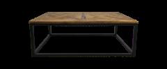 Table basse Mosaic - 110x70 cm - cire naturelle / noir - teck / fer