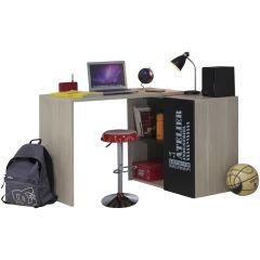 Bureau d'angle Atelier avec plateau tournant - brun/noir