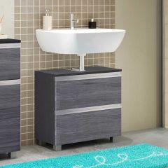 Meuble sous-lavabo Lotuk 60cm 1 porte et 1 tiroir - chêne gris