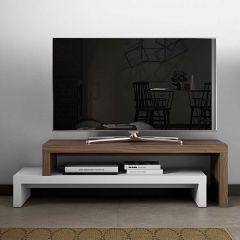 Meuble tv Cliff 125cm - blanc/noyer