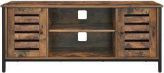 Meuble TV Lance 110cm 2 portes 2 niches - brun rustique/noir