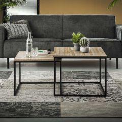 Table basse Teca set - 2 60x60 - Teck en lavage gris