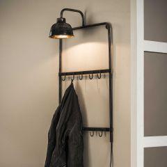 Porte-manteau lampe avec 2x5 crochets - Finition argent ancien