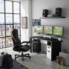 Bureau gamer Escape 170cm avec bande LED - gris anthracite/blanc
