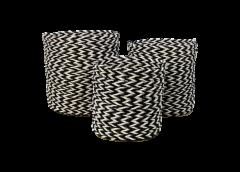 Set de paniers - raphia / grass - noir et blanc - set de 3