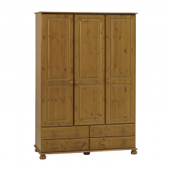 Garde-robe Ramund 130cm 3 portes & 4 tiroirs - brun