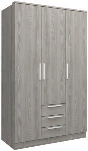Armoire Ramos 120cm avec 3 portes & 3 tiroirs - frêne gris