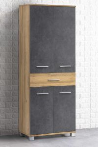 Colonne salle de bains Kao 1 tiroir & 4 portes - chêne vieilli/gris graphite
