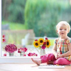 Stickers pour fenêtre Arrosoir & fleurs