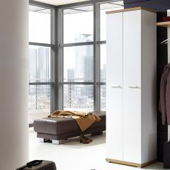 Armoire vestiaire Tosun 59cm avec 2 portes - blanc/chêne