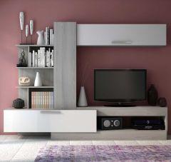 Meuble tv Zomi 260cm - frêne gris/blanc