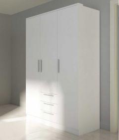 Armoire Ramos 120cm avec 3 portes & 3 tiroirs - blanc