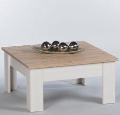 Table basse Armando 78x78cm avec 1 tiroir - chêne/blanc