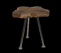 Table basse Root - ø30-40 cm - teck ancien  /  acier inoxydable