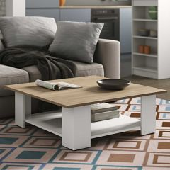 Table basse Square 89x89 - blanc/chêne