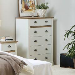 Chiffonnier Silia 78cm rustique avec 6 tiroirs - blanc/naturel
