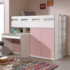 Lit mi-hauteur Bonny 70 avec bureau, commode et armoire - rose