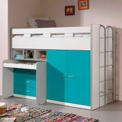 Lit mi-hauteur Bonny 70 avec bureau, commode et armoire - turquoise