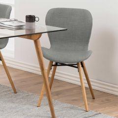 Set de 2 chaises en tissu Tilda avec pieds obliques - gris clair/chêne