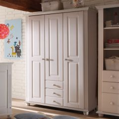 Garde-robe Laurel 131cm à 3 portes & 3 tiroirs - blanc