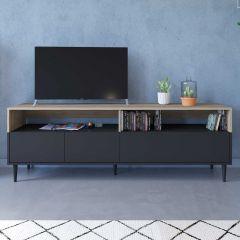 Meuble TV Horizon 180cm - chêne/noir
