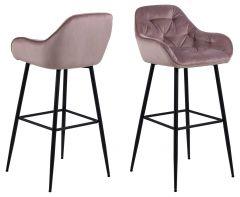 Lot de 2 chaises de bar Bridget - vieux rose/noir