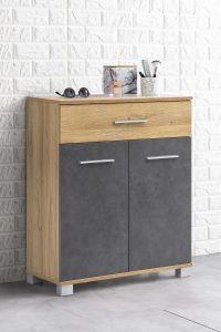 Armoire de salle de bains Kao 1 tiroir & 2 portes - chêne vieilli/gris graphite